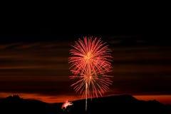 заход солнца неба фейерверков Стоковые Изображения RF