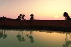 заход солнца оазиса стоковое изображение