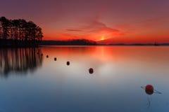 заход солнца озера более lanier Стоковые Изображения RF