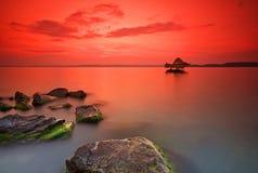 заход солнца озера Венгрии balaton стоковая фотография rf