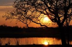 заход солнца озера вниз стоковое изображение