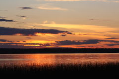 заход солнца озера северный Стоковые Фото