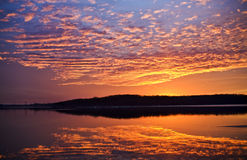 заход солнца озера стоковые фото