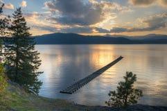 заход солнца озера coeur d alene Стоковое Изображение
