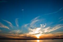 заход солнца озера constance стоковая фотография rf