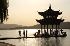 заход солнца озера hangzhou фарфора западный Стоковое Изображение RF