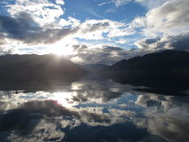 заход солнца озера hawea Стоковая Фотография RF