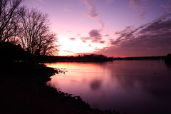 заход солнца озера hickory старый Стоковая Фотография