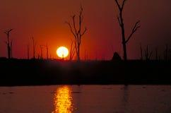 заход солнца озера kariba Стоковое Изображение