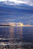 заход солнца озера ladoga Стоковая Фотография RF