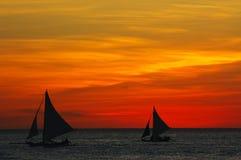 заход солнца океана ландшафта зарева Стоковые Фото