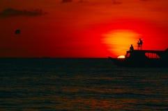 заход солнца океана ландшафта Стоковое Изображение RF