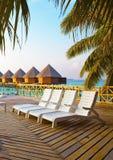 заход солнца океана Мальдивов острова Стоковая Фотография
