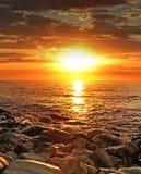заход солнца океана Стоковая Фотография