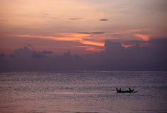 заход солнца океана bali Стоковая Фотография