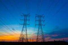 заход солнца опор электричества Стоковое фото RF