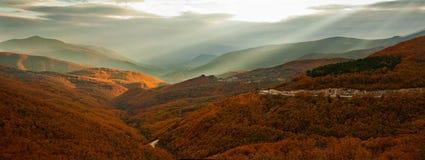 заход солнца осени Стоковое фото RF