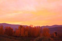 заход солнца осени Стоковая Фотография