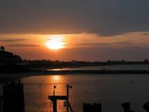 заход солнца острова блока Стоковая Фотография