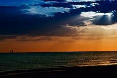 заход солнца острова медового месяца florida Стоковое Изображение RF