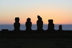 заход солнца острова пасхи Стоковое Фото