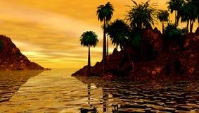 заход солнца острова тропический Стоковая Фотография RF