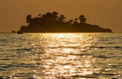 заход солнца острова Стоковое Изображение RF