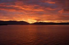 заход солнца острова Стоковая Фотография RF