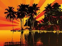 заход солнца острова beautifull Стоковые Фото