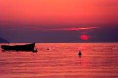 заход солнца острова elba стоковое изображение