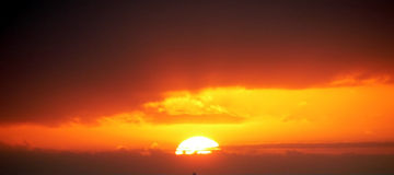 заход солнца острова gran canaria Стоковое Изображение