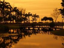 заход солнца отражения Стоковая Фотография