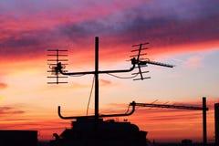 Заход солнца от верхней части крыши стоковое фото rf