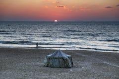 Заход солнца от города Газа стоковое фото rf