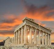 Заход солнца памятника Парфенона Греции Афин Стоковые Фото