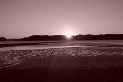 заход солнца панорамы ландшафта стоковое фото rf
