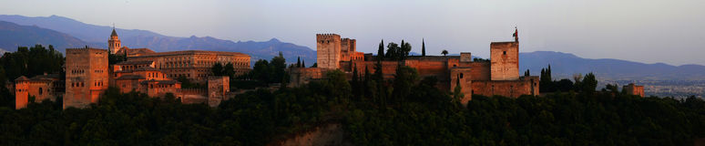 заход солнца панорамы alhambra Стоковая Фотография RF