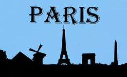 Заход солнца Парижа Франции Стоковая Фотография