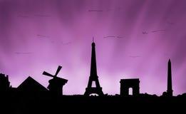 Заход солнца Парижа Франции Стоковое фото RF