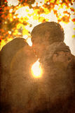 заход солнца парка пар целуя Стоковые Изображения