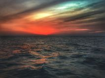 Заход солнца Персидского залива стоковая фотография
