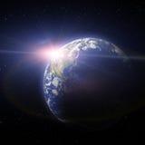 заход солнца планеты земли Стоковое Изображение