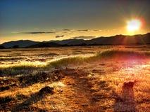 заход солнца плато солнечный Стоковое Изображение