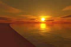 заход солнца пляжа бесконечный Стоковая Фотография