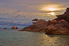 заход солнца пляжа идилличный Стоковое Изображение RF