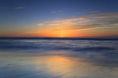 Заход солнца пляжа Калифорнии, Сан-Диего Стоковое Изображение