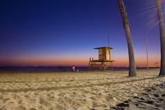 Заход солнца пляжа Калифорния Стоковое Изображение RF