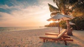 заход солнца пляжа красивейший Стулья на песчаном пляже около моря Концепция летнего отпуска и каникул Вдохновляющая тропическая  Стоковое Фото