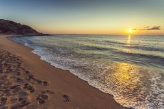 Заход солнца пляжа моря Стоковая Фотография RF