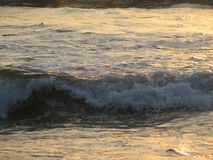 Заход солнца пляжа небо захода солнца с завальцовкой волны Стоковая Фотография RF